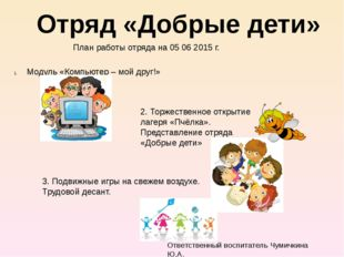 Отряд «Добрые дети» План работы отряда на 05 06 2015 г. Модуль «Компьютер –