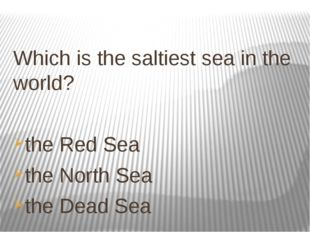 Which is the saltiest sea in the world? the Red Sea the North Sea the Dead Sea