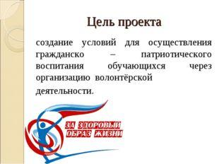 Цель проекта создание условий для осуществления гражданско – патриотического