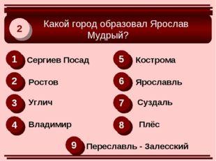 Какой город образовал Ярослав Мудрый? 2 1 2 6 3 4 8 5 7 9 Сергиев Посад Рост