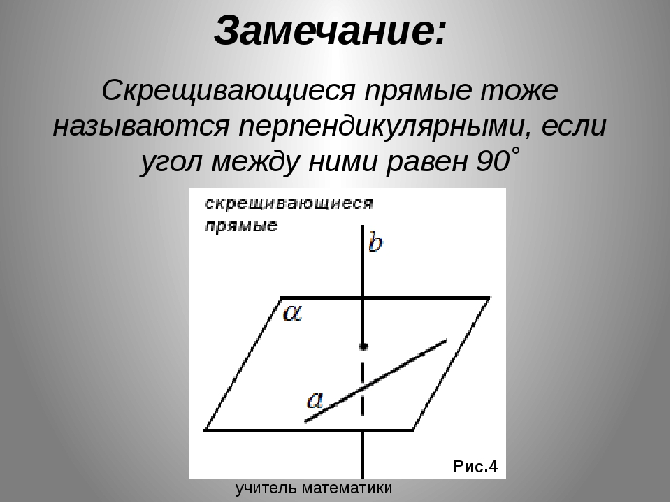 Замечание: Скрещивающиеся прямые тоже называются перпендикулярными, если угол...
