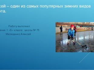 Хоккей – один из самых популярных зимних видов спорта. Работу выполнил ученик
