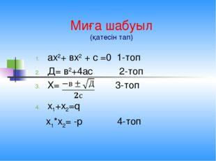 Миға шабуыл (қатесін тап) ах2+ вх2 + с =0 1-топ Д= в2+4ас 2-топ Х= 3-топ х1+х