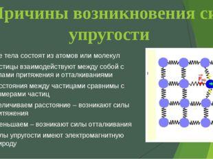 Причины возникновения сил упругости Все тела состоят из атомов или молекул Ча