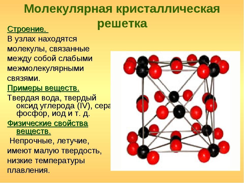 Молекулярная кристаллическая решетка Строение. В узлах находятся молекулы, св...