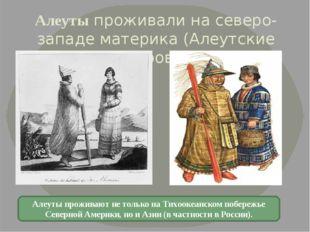 Алеуты проживали на северо-западе материка (Алеутские острова). Алеуты прожив