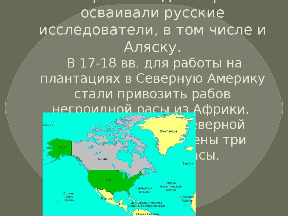 Северо – запад материка осваивали русские исследователи, в том числе и Аляску...