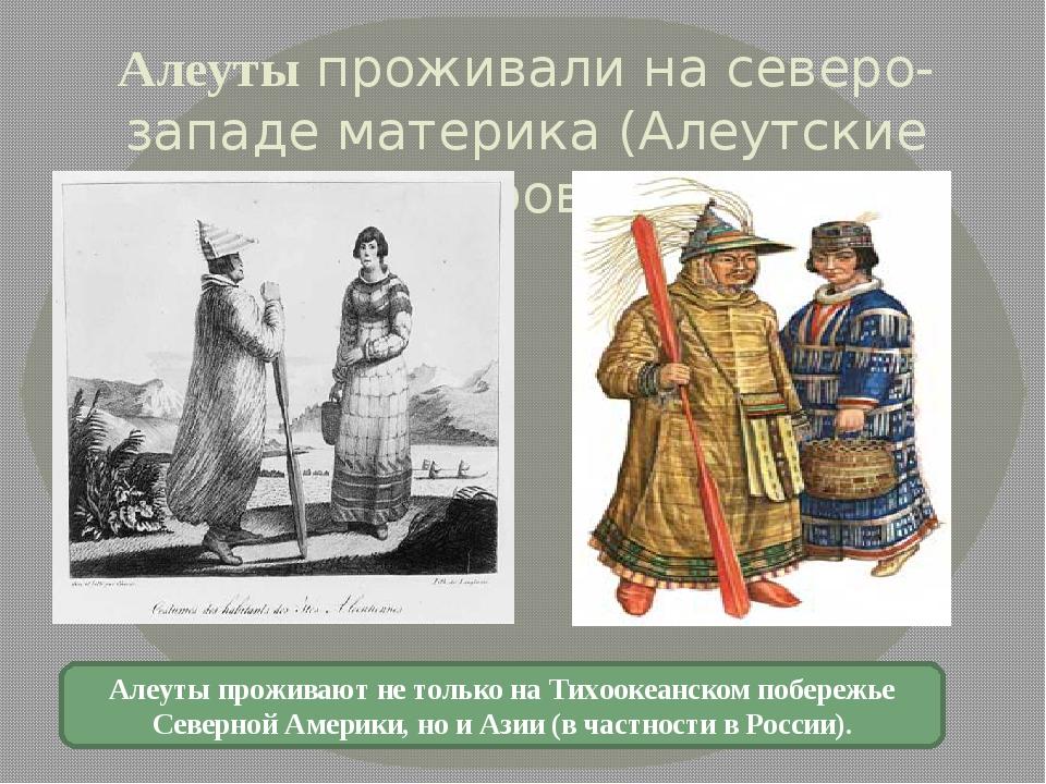 Алеуты проживали на северо-западе материка (Алеутские острова). Алеуты прожив...