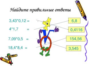 Найдите правильные ответы 3,43*0,12 = 4*1,7= 7,09*0,5 = 18,4*8,4 = 6,8 0,411