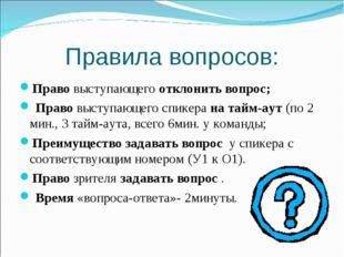 Правила вопросов: Право выступающего отклонить вопрос; Право выступающего спи