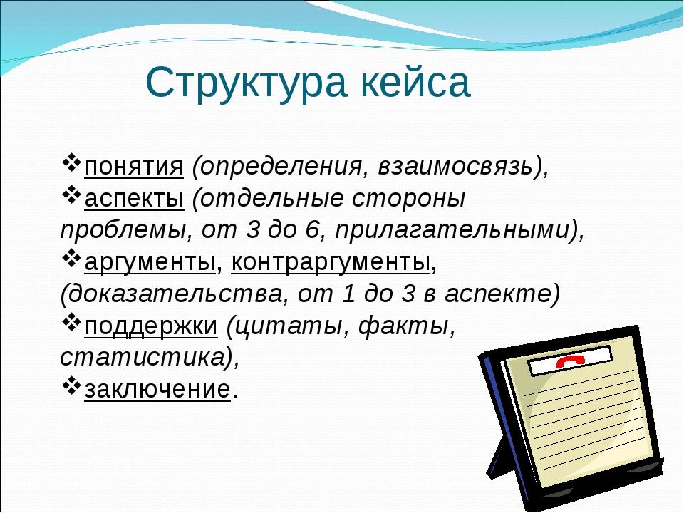 Структура кейса понятия (определения, взаимосвязь), аспекты (отдельные сторо...