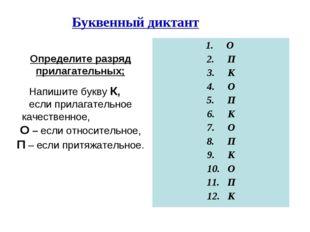 Буквенный диктант Определите разряд прилагательных; Напишите букву К, если пр
