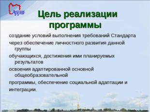 Цель реализации программы создание условий выполнения требований Стандарта ч
