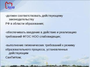-должен соответствовать действующему законодательству РФ в области образовани