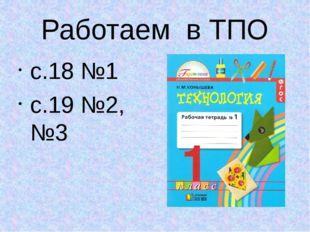 Работаем в ТПО с.18 №1 с.19 №2, №3