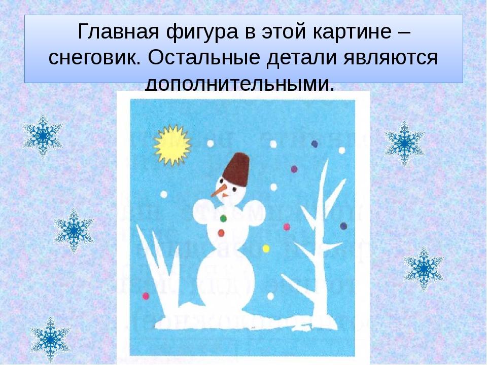 Главная фигура в этой картине – снеговик. Остальные детали являются дополните...