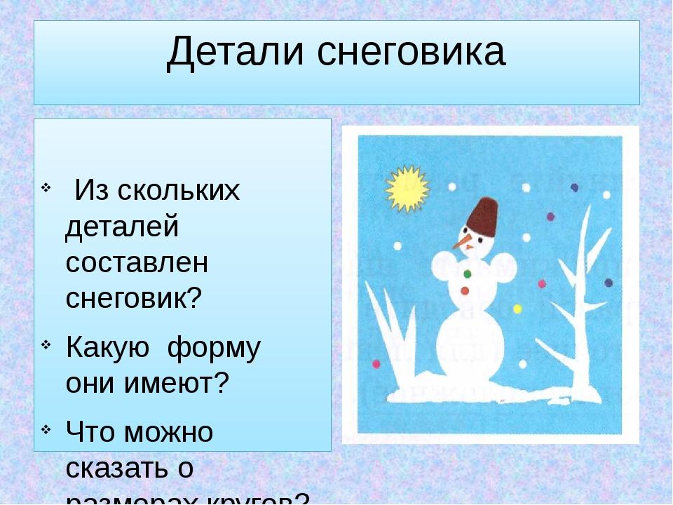 Детали снеговика Из скольких деталей составлен снеговик? Какую форму они имею...