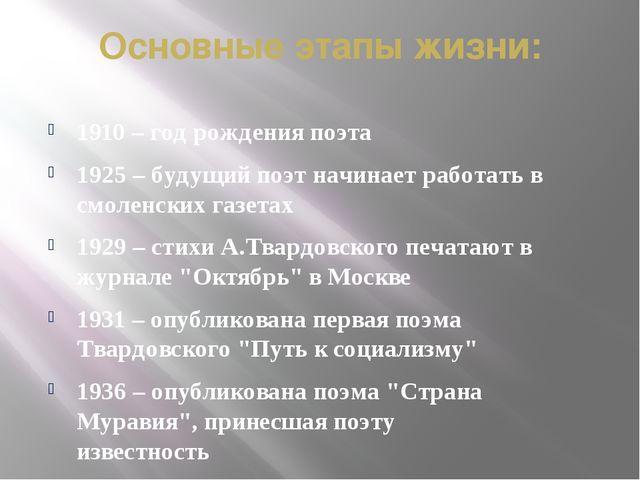 Основные этапы жизни: 1910 – год рождения поэта 1925 – будущий поэт начинает...