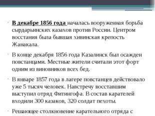 В декабре 1856 года началась вооруженная борьба сырдарьинских казахов против
