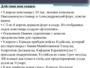Действия повстанцев: • 5 апреля повстанцы с 10 тыс. человек атаковали Николае