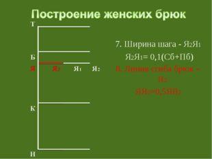 7. Ширина шага - Я2Я1 Я2Я1= 0,1(Сб+Пб) 8. Линия сгиба брюк – Я3 ЯЯ3=0,5ЯЯ2