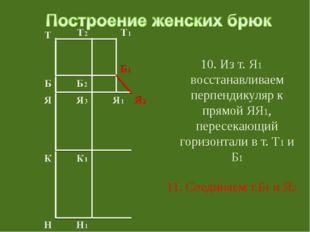10. Из т. Я1 восстанавливаем перпендикуляр к прямой ЯЯ1, пересекающий горизо
