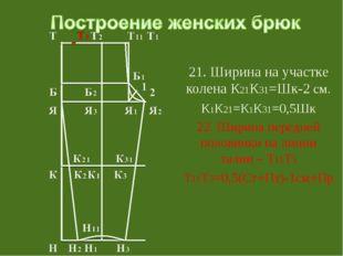 21. Ширина на участке колена К21К31=Шк-2 см. К1К21=К1К31=0,5Шк 22. Ширина пе