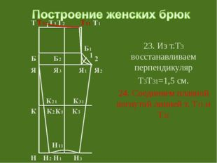 23. Из т.Т3 восстанавливаем перпендикуляр Т3Т31=1,5 см. 24. Соединяем плавно