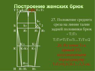 27. Положение среднего среза на линии талии задней половинки брюк - Т2Т3 Т2Т