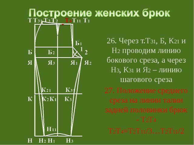 26. Через т.Т31, Б, К21 и Н2 проводим линию бокового среза, а через Н3, К31...