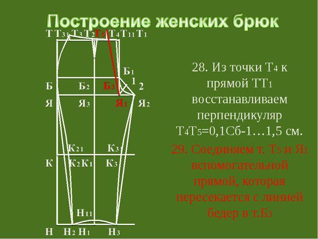 28. Из точки Т4 к прямой ТТ1 восстанавливаем перпендикуляр Т4Т5=0,1Сб-1…1,5...