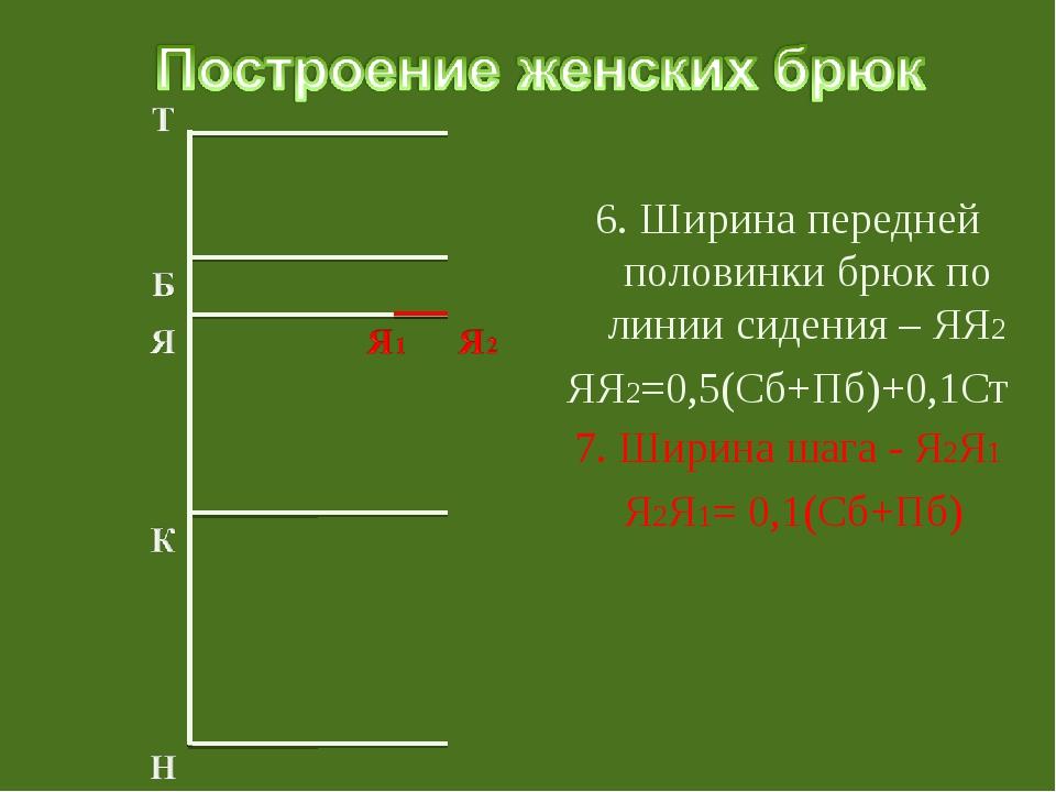 6. Ширина передней половинки брюк по линии сидения – ЯЯ2 ЯЯ2=0,5(Сб+Пб)+0,1С...