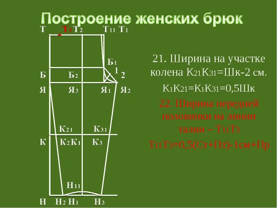 21. Ширина на участке колена К21К31=Шк-2 см. К1К21=К1К31=0,5Шк 22. Ширина пе...