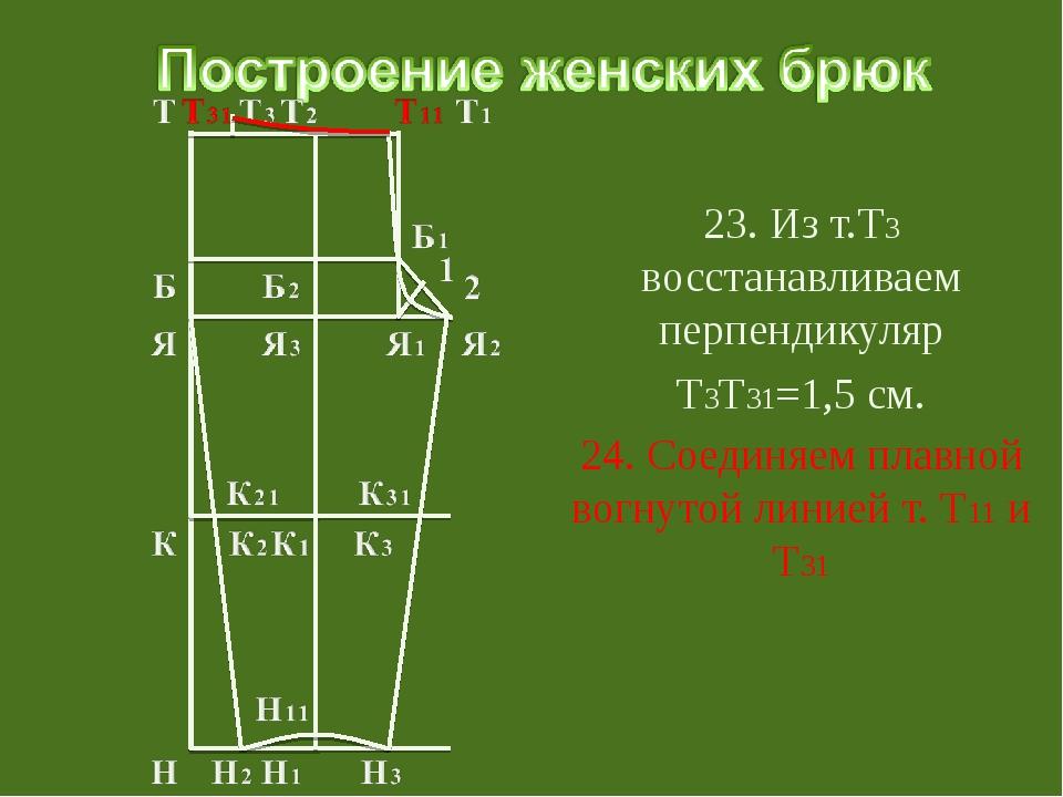 23. Из т.Т3 восстанавливаем перпендикуляр Т3Т31=1,5 см. 24. Соединяем плавно...