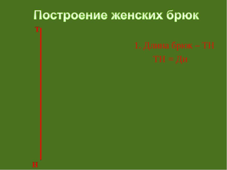 1. Длина брюк – ТН ТН = Ди