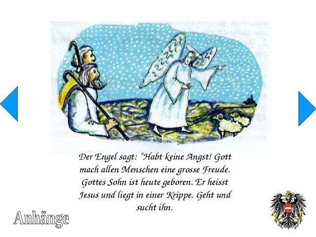"""Der Engel sagt: """"Habt keine Angst! Gott mach allen Menschen eine grosse Freud..."""