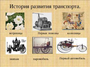 История развития транспорта. ветреница Первая повозка колесница паромобиль эк