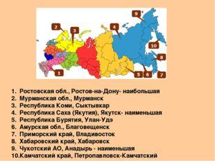 Ростовская обл., Ростов-на-Дону- наибольшая Мурманская обл., Мурманск Республ