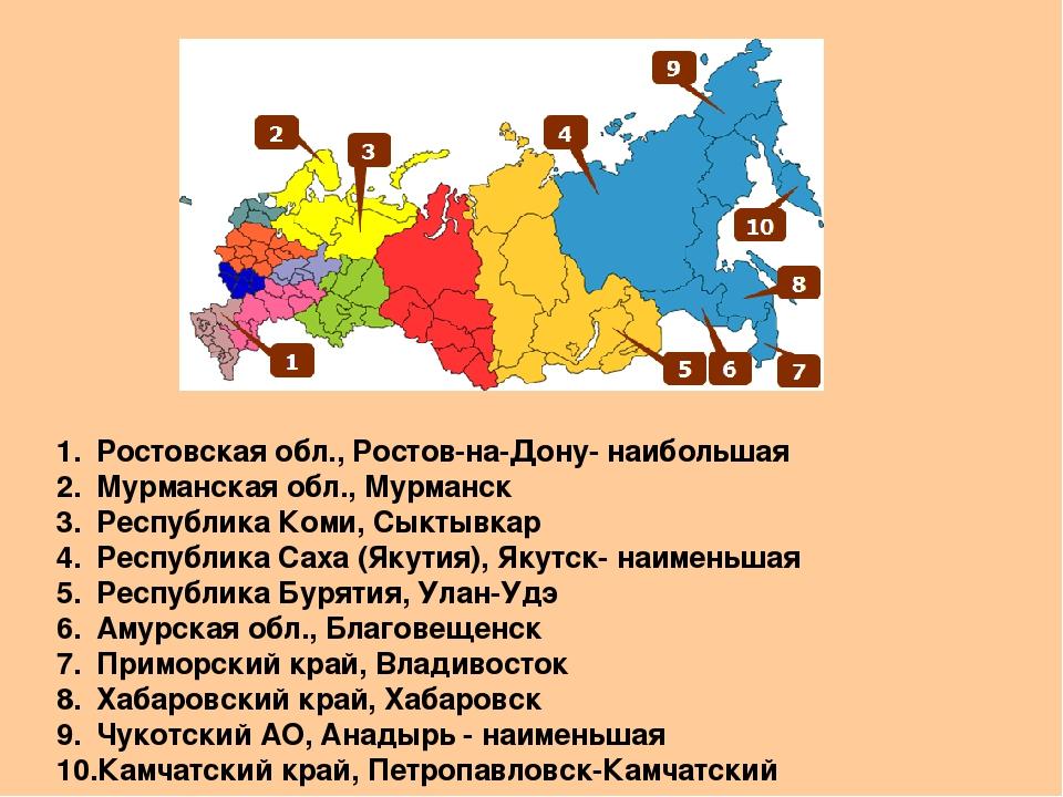 Ростовская обл., Ростов-на-Дону- наибольшая Мурманская обл., Мурманск Республ...