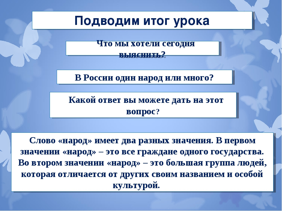 Подводим итог урока Что мы хотели сегодня выяснить? В России один народ или м...