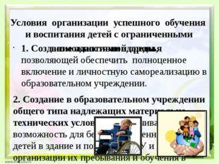 Условия организации успешного обучения и воспитания детей с ограниченными воз