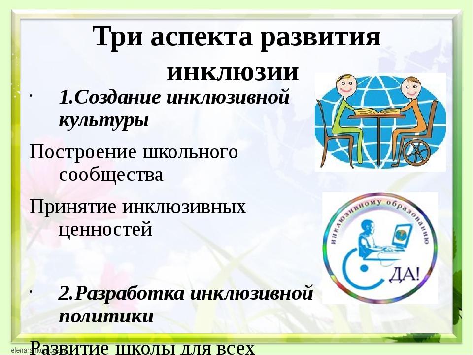Три аспекта развития инклюзии 1.Создание инклюзивной культуры Построение школ...