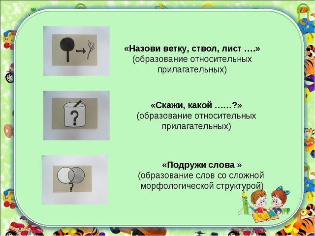 «Назови ветку, ствол, лист ….» (образование относительных прилагательных) «Ск...