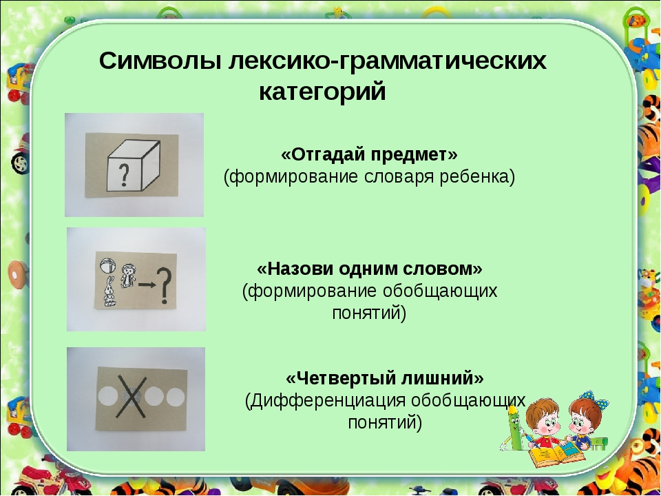 «Отгадай предмет» (формирование словаря ребенка) «Назови одним словом» (форми...