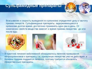Сульфамидные препараты Всасывание и скорость выведения из организма определяю