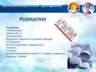Противомикробные препараты Фурацилин Показания: гнойные раны; ожоги II–III ст