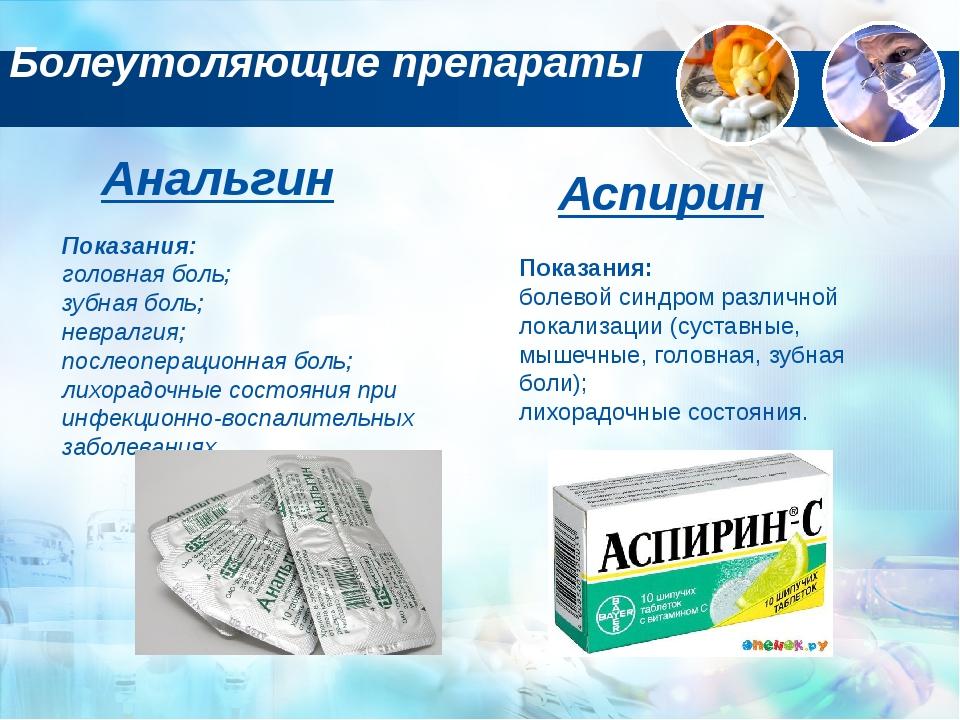 Болеутоляющие препараты Анальгин Показания: головная боль; зубная боль; невра...