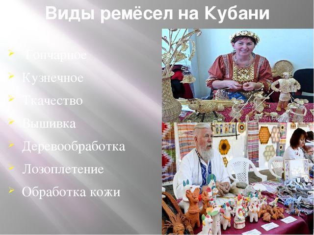 Виды ремёсел на Кубани Гончарное Кузнечное Ткачество Вышивка Деревообработка...