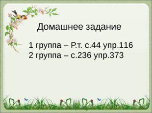 Домашнее задание 1 группа – Р.т. с.44 упр.116 2 группа – с.236 упр.373