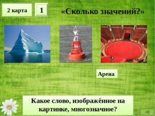 2 карта 2 «Сколько значений?» Какое слово, изображённое на картинке, многозна